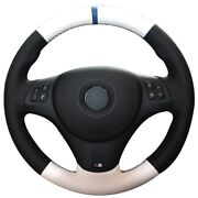 Black White Leather Blue Marker Car Steering Wheel Cover For Bmw M3 2009-2013