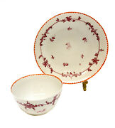 Chinese Export Porcelain Cup And Saucer, Maroon Foliate Scroll Flowers, C.1800