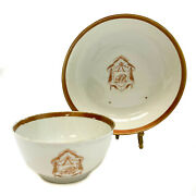 Chinese Export Porcelain Cup And Saucer, Armorial Crest Bb, Circa 1820