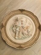 Antique Pair Of Large Vintage Capodimonte Style Couple Wall Plaques