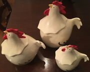Napa Style Set Of 3 Rooster Canisters Made In Italy