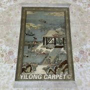 Yilong 2and039x3and039 400line Antique Tapestry Silk Carpet Hanging Ancient Area Rug 066h