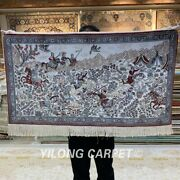 Yilong 2and039x3and039 400line Hunting Scene Tribal Tapestry Silk Carpet Area Rug 073h
