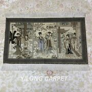 Yilong 2and039x3and039 400line Sitting Room Tapestry Silk Carpet Ancient Area Rug 075h