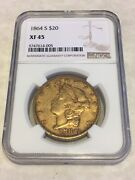 1864-s 20 Xf45 Ngc Liberty Double Eagle Gold Coin Nice Strike No Pcgs