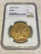 1864-s 20 Xf45 Ngc Liberty Double Eagle Gold Coin Typ1 Nicely Struck Not Pcgs