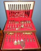 Oneida Tudor Community 1946 Queen Bess Floral Flatware For 12 W/ Chest 95 Pieces
