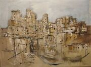 1967 Listed American Gino Hollander Sd Abstract Cityscape Pueblo O/c