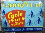 Vintage Goodyear Tire Cycle Tyre Porcelain Enamel Sign Old Good Year Tire Sign