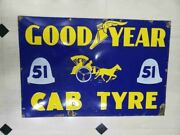 Vintage Goodyear Tire Sign Cab Tyreporcelain Enamel Sign Good Year Cab Tire Sign