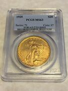 1925 Ms63 Pcgs Saint Gaudens Double Eagle 20 Gold Coin Pq Great Appeal Obl