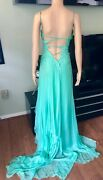 Gianni Versace 1990andrsquos Vintage Turquoise Silk Open Back Evening Dress Gown It 38