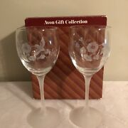 Avon Gift Collection Hummingbird Crystal Goblets One Pair Used