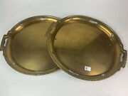 Pair Of Large Oval Brass Trays - Nice And Heavy 23 X 20