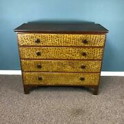 19th Century New England Pine Paint Decorated Mule Chest Blank Chest / 2 Drawers