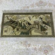 Yilong 4and039x2and039 The Great Wall Tapestry Area Rug Hand Knotted Silk Carpets M048h