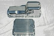 1965-90 Big Block Chevy Finned Aluminum Oil And 700r4 Trans Pan 396 427 454 Bbc
