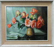 Edward Wesson 1910-1983 Fine Original Signed Oil Painting And039still Life Of Rosesand039