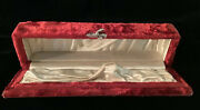 Rare Antique Beautiful Deep Red Crushed Velvet And Satin Casket Jewelry Box.