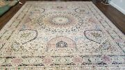 8and039 X 10and039 Vintage Hand Made Fine Chinese Wool Rug Carpet Dome Design Ivory