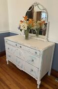 Antique Art Noveau Dresser With Mirror Very Shabby White And Refab Blue 48l X 2