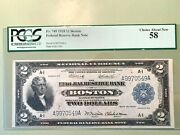 1918 2 Federal Reserve Bank - Boston Pcgs 58 Choice About New Au Fr. 749