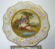 Antique Meissen 13 Signed M. Rudolph Hand Painted Plate Reticulated Freedom Nude