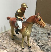 Rare Vintage Lead Toy Figure Jockey On Horse 7 Gold Cap And Jersey Usa Made