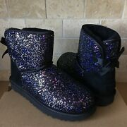 Ugg Classic Mini Bailey Bow Cosmos Black Sparkle Boots Size Us 7 Womens