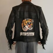 Authentic Black Embroidered Mare Gothicum Tiger Fringe Leather Jacket Nwt