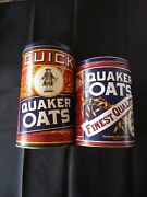 2 Advertising Tins Quaker Oats 1990 And 1992 Collectible Tin With Recipes On Side