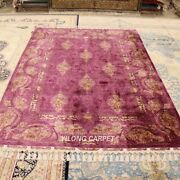 Yilong 5.6and039x8.2and039 Purple Hand Craft Silk Rugs Hand Knotted Hand-made Carpets 1838