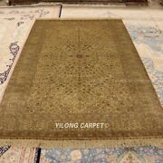 Yilong 5and039x8and039 Golden Classic Silk Rug Hand Knotted Antique Handmade Carpets 1005