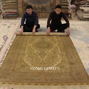 Yilong 5and039x8and039 Golden Handmade Silk Carpet Nice Classic Hand-knotted Area Rug 1006