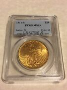 1911-s Ms63 Pcgs Saint Gaudens Double Eagle 20 Gold Coin Pq Great Appeal Obl