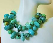 Finest Antique Chinese Natural Turquoise Bead Necklace Sterling 134gm 26