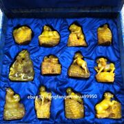 Shoushan Tianhuang Stone Handcarved Chinese Zodiac Animal Seal Stamp Signet Set