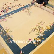 Yilong 6and039x9and039 Great Hand Knotted Chinese Art Deco Wool Rug Blue Woollen Carpets