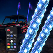 2pc 4ft 360anddeg Spiral Led Whip Lights 22 Mode Wireless Rgb -remote Control Chasing