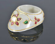Vintage Mughal Style Ornamental Jade Archer Ring Collectible