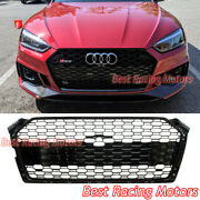 Rs5 Style Front Grille Gloss Black Frame + Honeycomb Fits 18-19 Audi A5 S5 B9