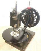 Antique Wanzer Sewing Machine Time Utilizer On Mable Base
