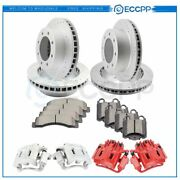 Front Rear Brake Rotors Calipers Ceramic Pads For Ford F-250 F-350 Super Duty