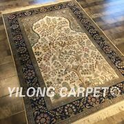 Yilong 4and039x6and039 Classic Handmade Rugs Tree Of Life Hand Knotted Silk Carpets L131a