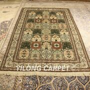 Yilong 5and039x8and039 Garden Scenes Handmade Silk Rug Bedroom Hand Knotted Carpets 177ab