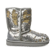 Ugg Classic Short Cosmos Sequin Silver Gold Leather Women's Boots Size Us 7 New