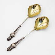 Bust Serving Spoons Pair Gilt Bowls Albert Coles Coin Silver 1865