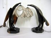 Pr. Mcm Table Lamps Stylized Birds Made From Animal Horn With Capiz Shades