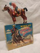 Vintage Mikuni Tin Litho Mechanical Brave Cowboy Wind-up Toy In Box, Works Well