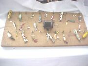 Fishing Lures Lot Of 29 On Handmade Wooden Board Hang From Hooks Reel In Middle
